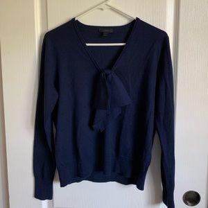 J.Crew Merino Wool Front Bow Sweater S Navy